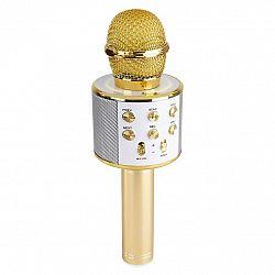 MAX KM01, 2 v 1 karaoke mikrofon, reproduktor, mediální přehrávač, zlatý